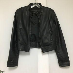 Ambition New York moto leather jacket. Zip closure